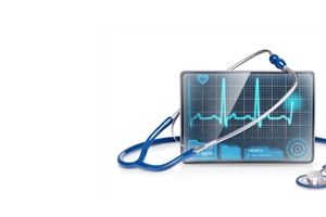 stethoscope and a tablet with a heart rhythm