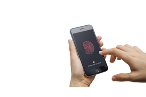 hand unlocking smartphone with fingerprint security feature