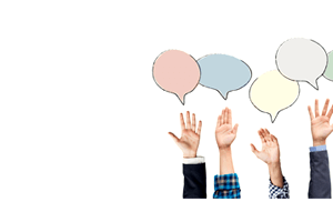 raised hands with different thought bubbles answering survey questions