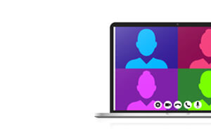 Virtual Meeting on Laptop with multi-colored avatar icons