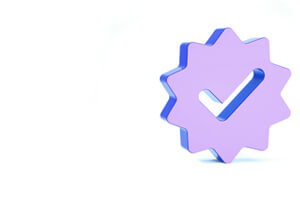 3d star seal with a checkmark